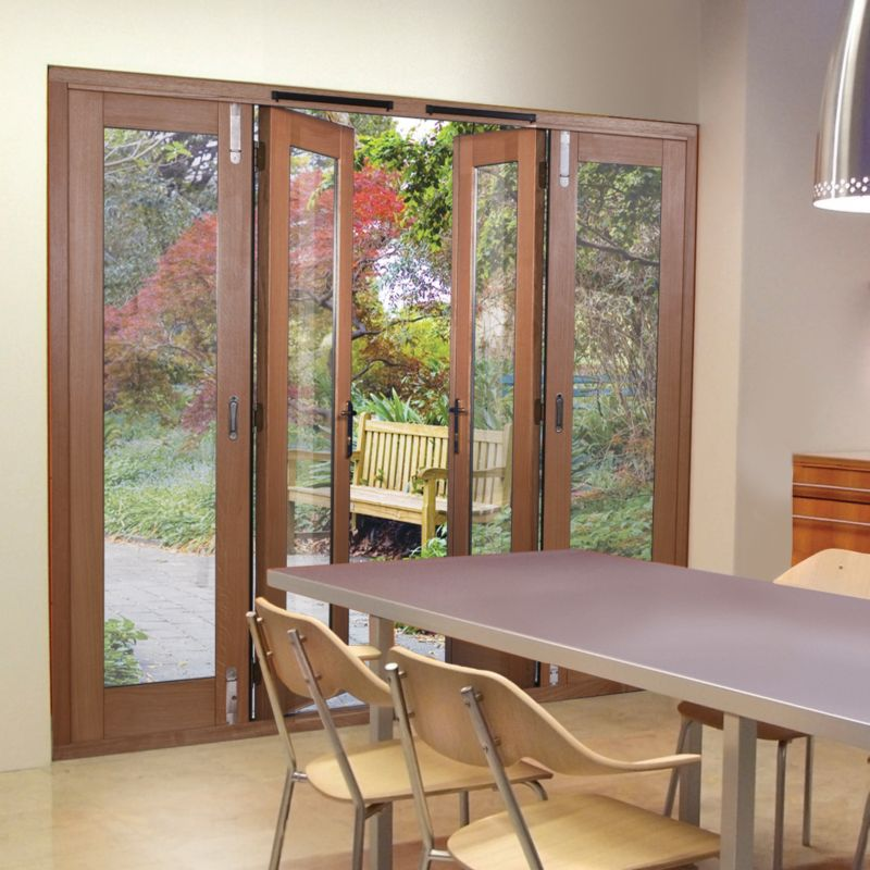 8ft Freedom Folding French Door White Oak Veneer (H)2090mm x (W)2390 x (D)820mm Gold Effect Handles