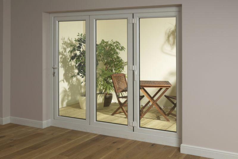 B&Q 6ft White Tri Fold Left Hand Folding Exterior Door White 2090x1790mm