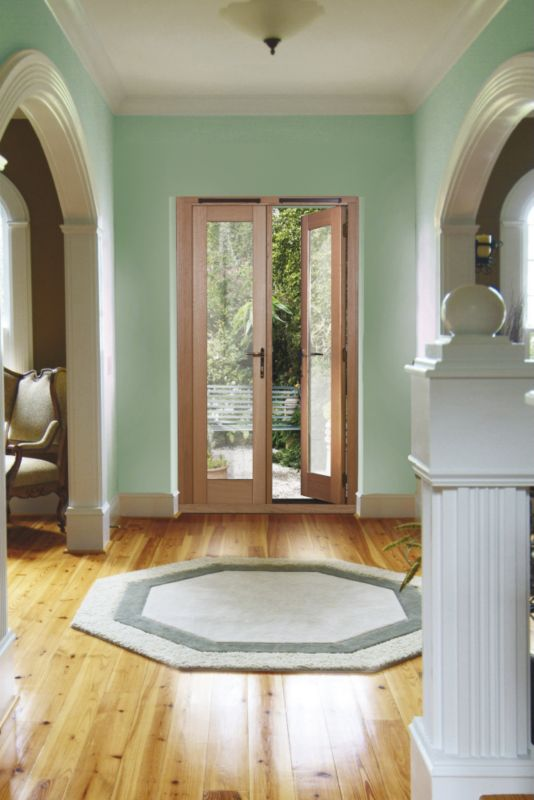 4ft Traditional French Door White Oak Veneer With Satin Chrome Hardware 2090x1190mm