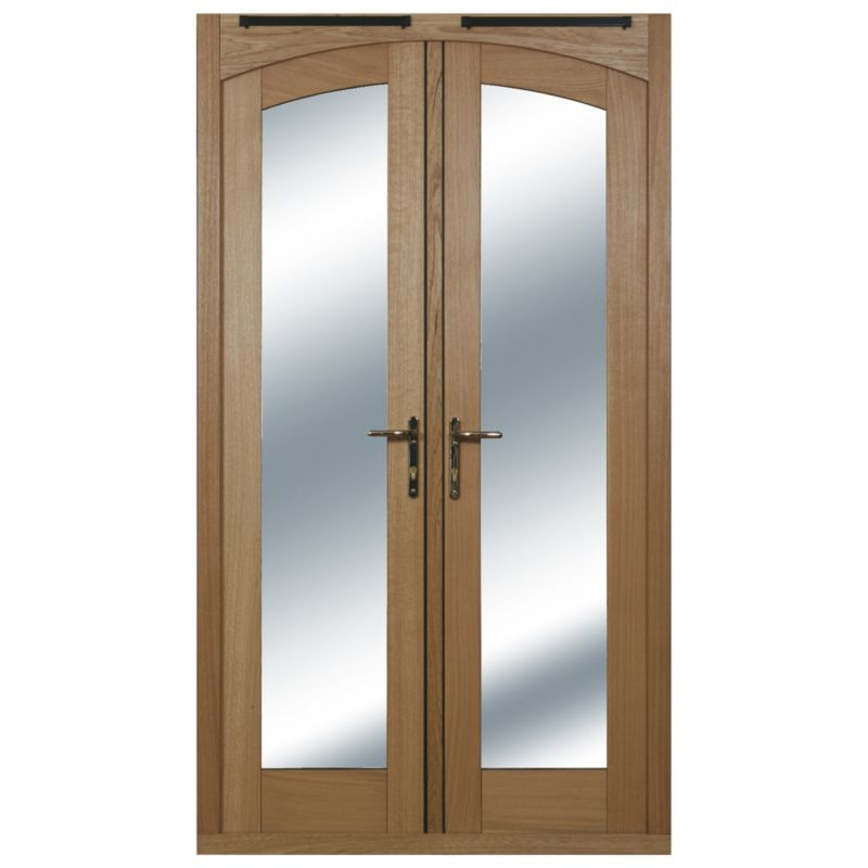 4ft Arched French Door White Oak Veneer Satin Chrome Hardware 2090x1190mm