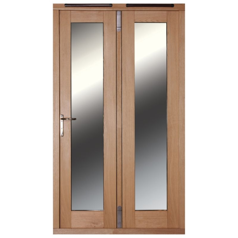 4ft Folding French Door Right Hand White Oak Veneer With Satin Chrome Hardware 2090x1190mm