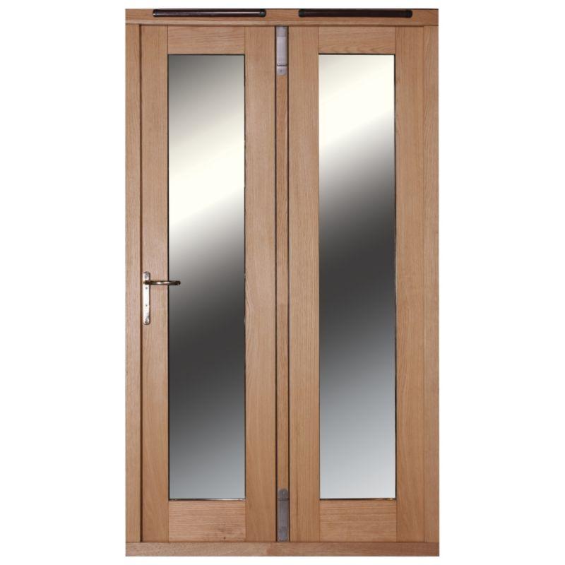 5ft Folding French Door Left Hand White Oak Veneer With Satin Chrome Hardware 2090x1490mm