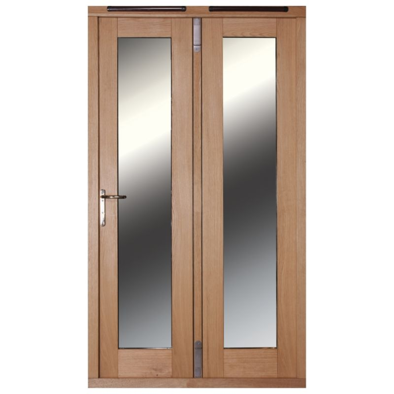 5ft Folding French Door Right Hand White Oak Veneer With Satin Chrome Hardware 2090x1490mm