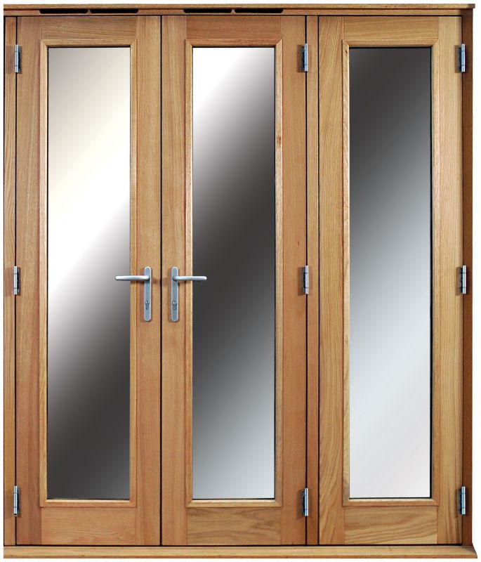 6ft Folding French Door Left Hand White Oak Veneer With Satin Chrome Hardware 2090x1790mm