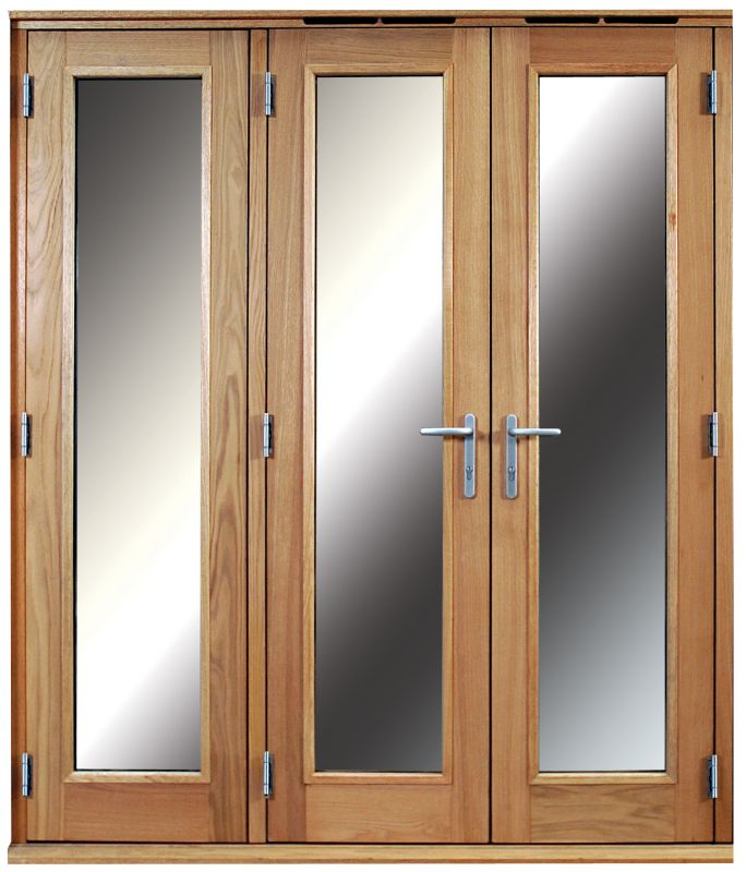 6ft Folding French Door Right Hand White Oak Veneer With Satin Chrome Hardware 2090x1790mm