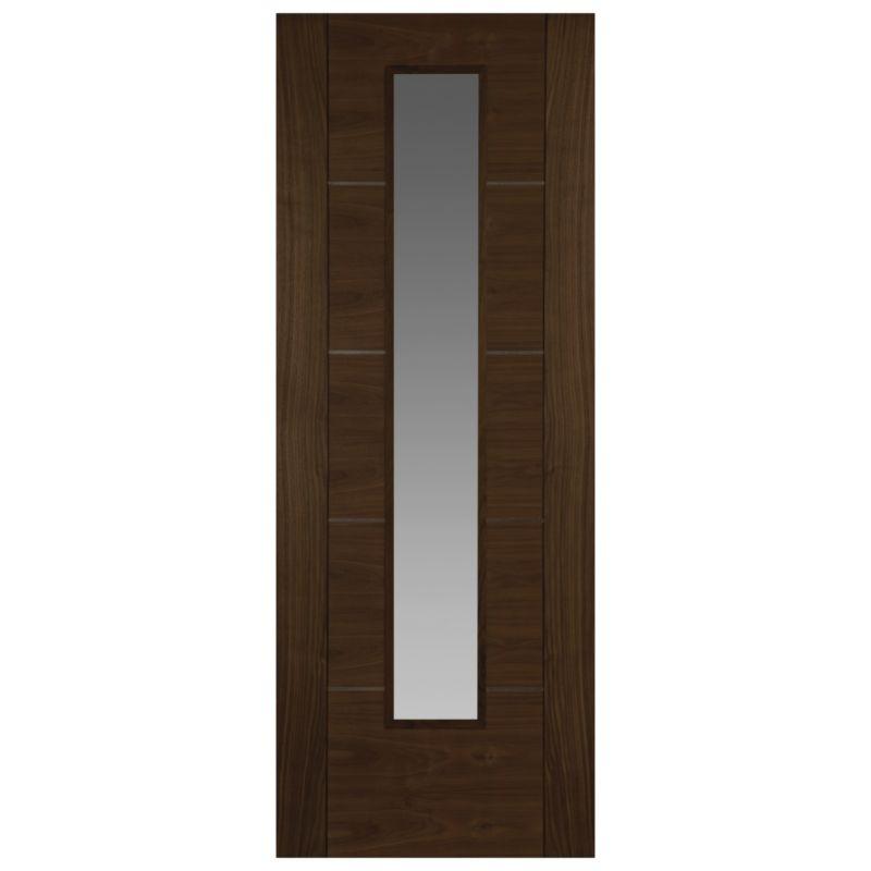 Flush 5 panel internal glazed door walnut veneer with for 1 panel inlaid oak veneer door
