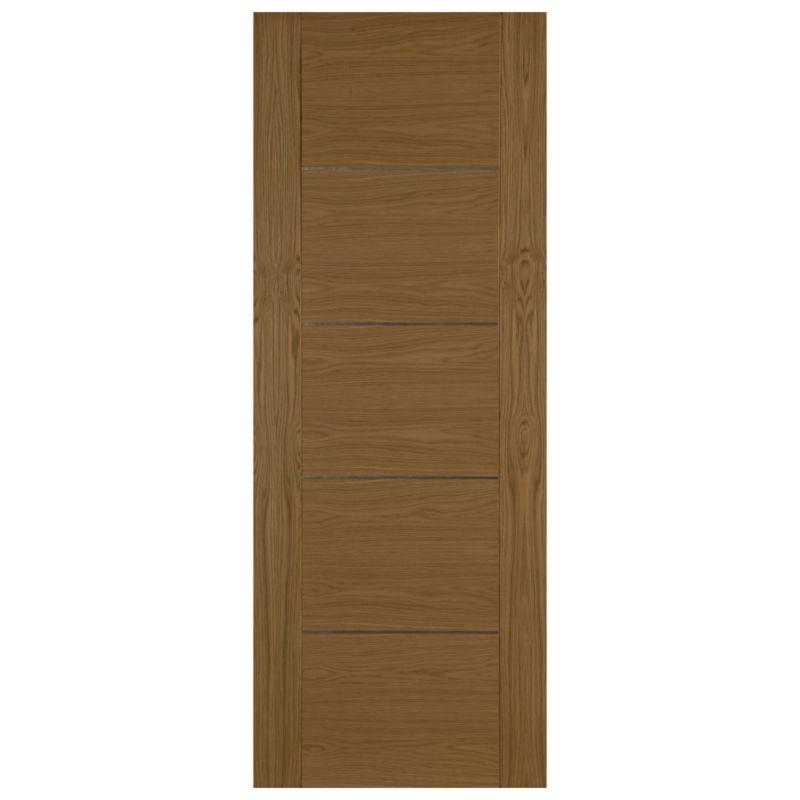 B q denton oak veneer 5 panel interior door h 1981 w for 1 panel inlaid oak veneer door