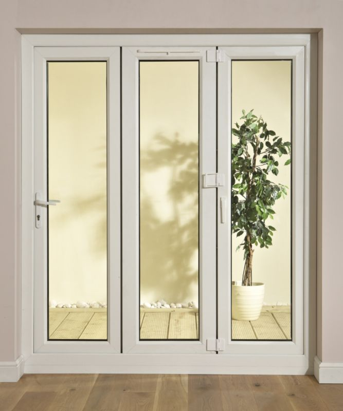B&Q 8ft PVCU Tri Fold Right Hand Folding Exterior Door White 2030x2390mm