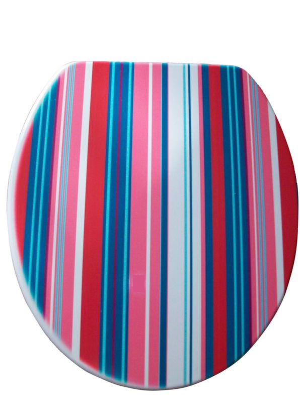 Moulded Wood Toilet Seat Multi-Colour Stripe