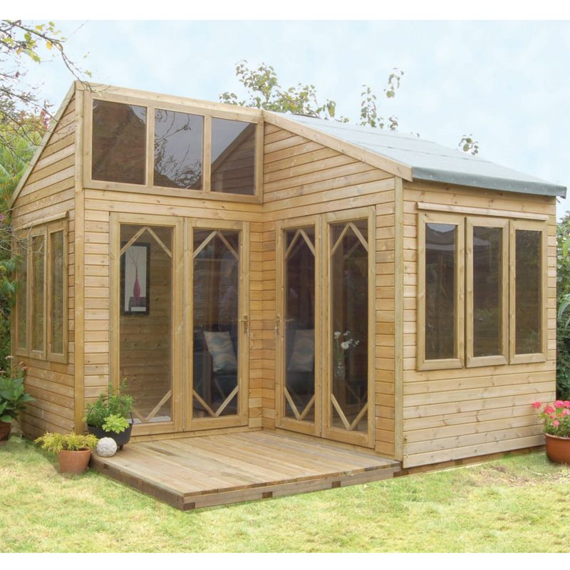 Corsica Summerhouse With Assembly  (H) 2.99m x (W) 3.55m x (D) 3.84m