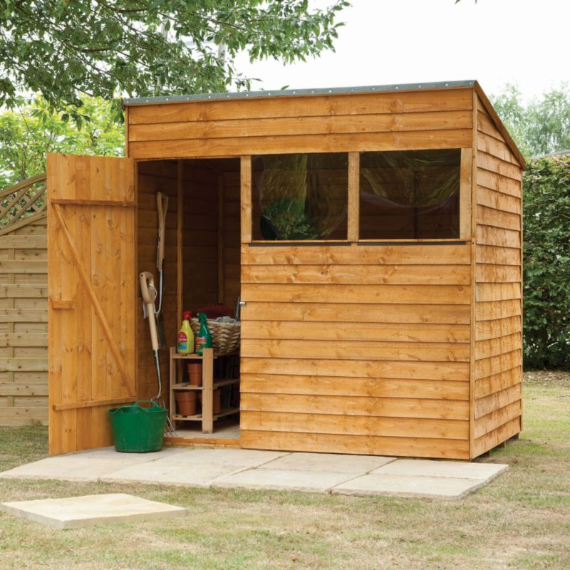 7x5 overlap wooden shed with pent roof home delivered for Garden shed 7x5