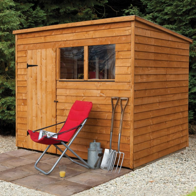 8x6 Pressure Treated Overlap Wooden Shed With Pent Roof - Home Delivery With Base