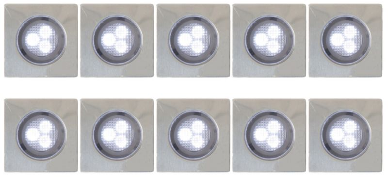 3cm recessed stainless steel decking lights pack of 10 white lights