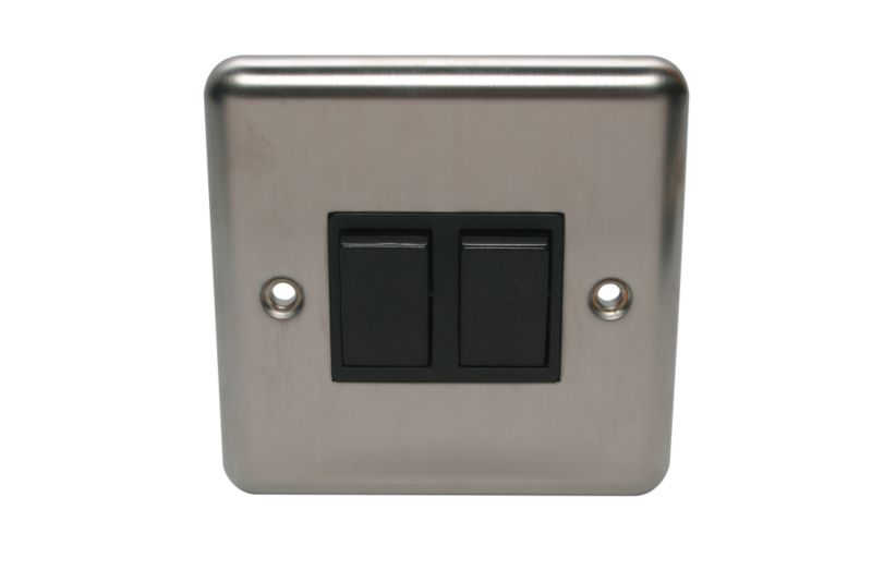 Volex Light switch Double 2 Way 1Ax Black Int