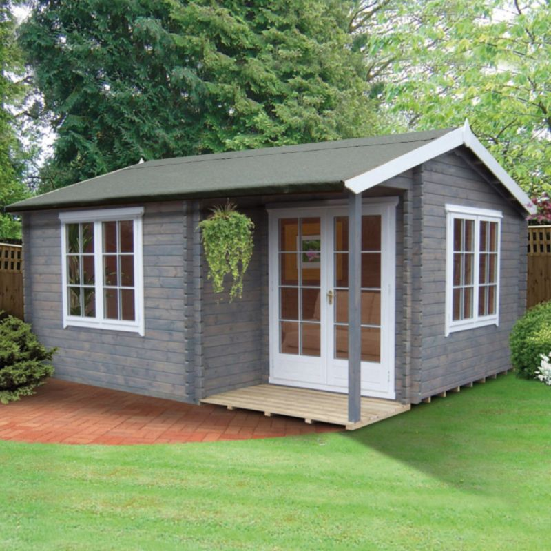14x17 Twyford Tongue & Groove Wooden Log Cabin - Home Delivered with Assembly