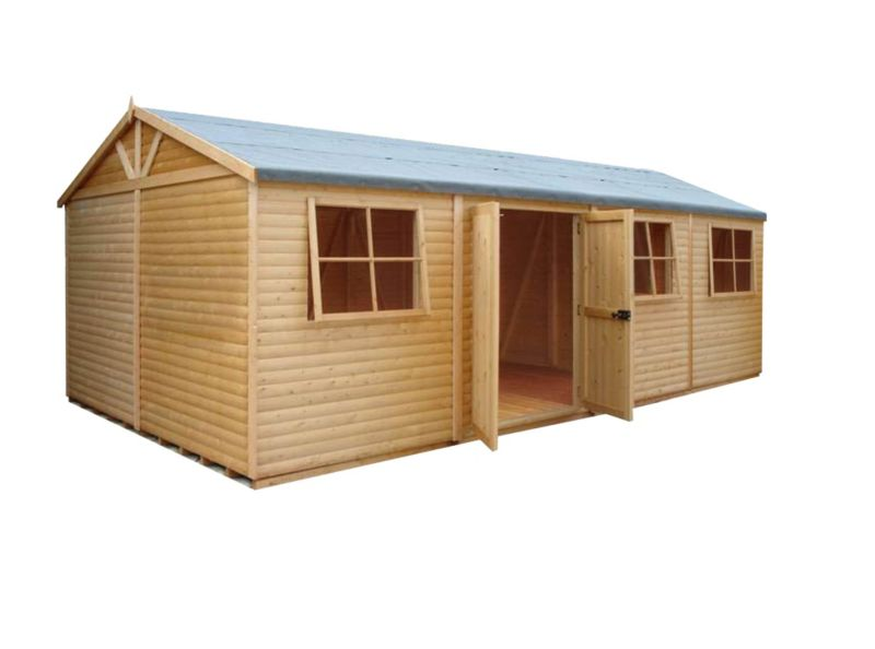 Shire 10'×20' Wooden Loglap Shed–Workshop, with assembly