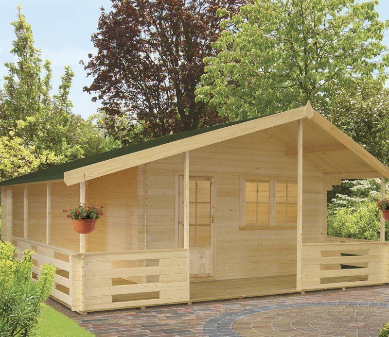 Arden Log Cabin Left Hand Terrace (H) 2.95m x (W) 5.37m x (D) 4.5m