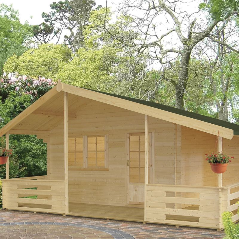 Brecon Log Cabin Right Hand Terrace  (H) 2.95m x (W) 5.37m x (D) 4.5m