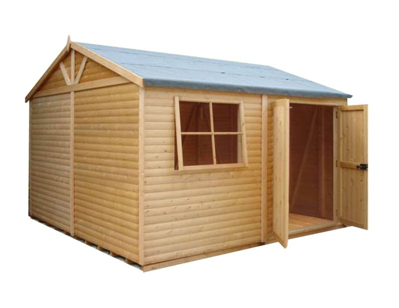 Shire 12'×12' Wooden Loglap Shed–Workshop, with assembly