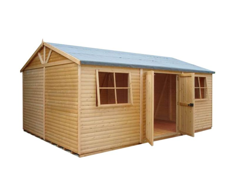 Shire 12'×18' Wooden Loglap Shed–Workshop, with assembly