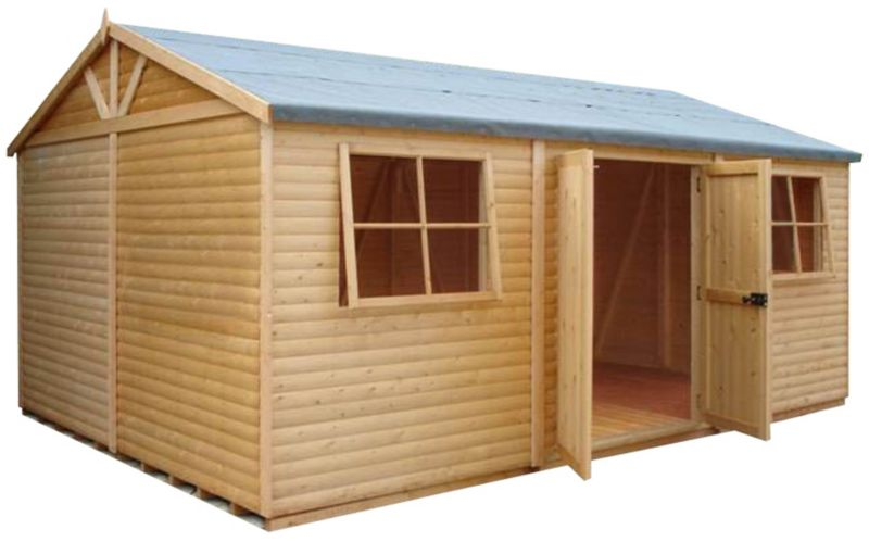 Shire 10'×15' Wooden Loglap Shed–Workshop, with assembly