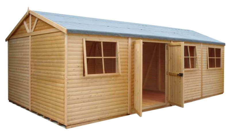 Shire Mammoth Wooden Apex-Roof Shed–Workshop, 1224