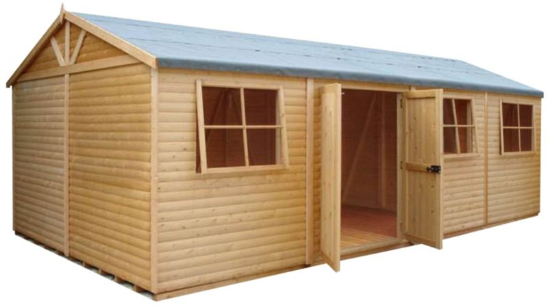 Shire 12'×24' Wooden Loglap Shed–Workshop, with assembly