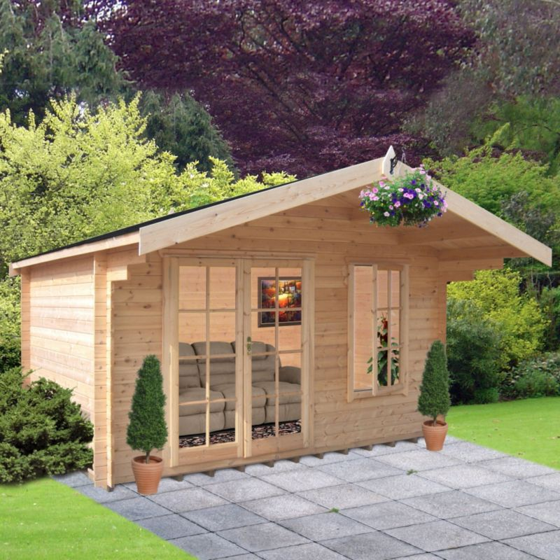 Cannock Cabin Natural (H)2.6 x (W)3.59 x (D)2.39m