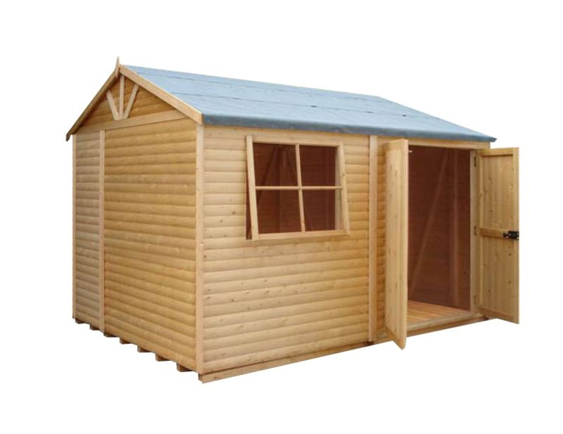 Shire 10'×7' Wooden Loglap Shed–Workshop