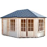 Save on this 9x14 Rowney Right Hand Corner Log Cabin - Home Delivered