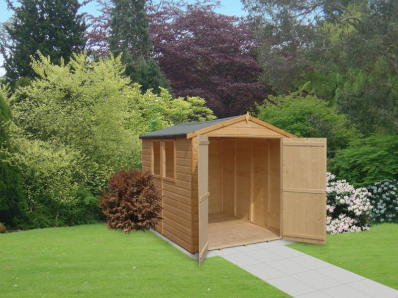 Deluxe Apex 6 x 16 Shed Including Assembly Honey Brown