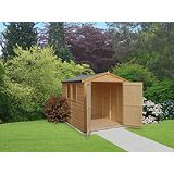 Save on this Deluxe Apex 6 x 16 Shed Including Assembly Honey Brown