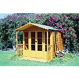 Save on this Kensington Summerhouse with Veranda Including Assembly Honey Brown