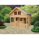 Save on this Lodge Playhouse Including Assembly Honey Brown