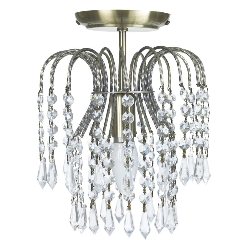 Malbay Waterfall 1 Light Semi Flush with Glass Drops BQ50480 Antique Brass Finish (Dia) 220mm