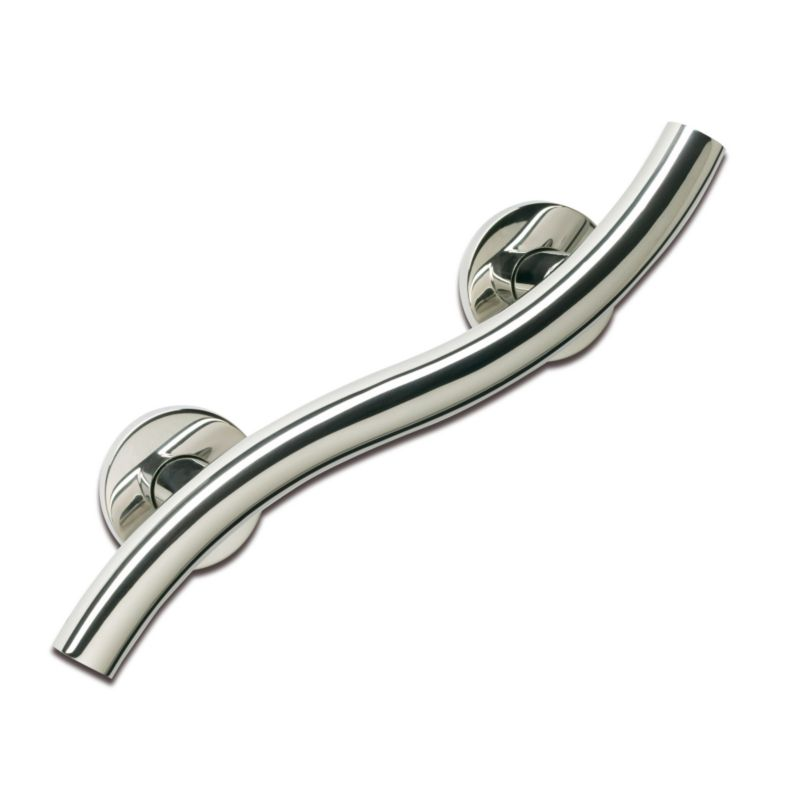 Curved Grab Rail 12 inch Silver Effect