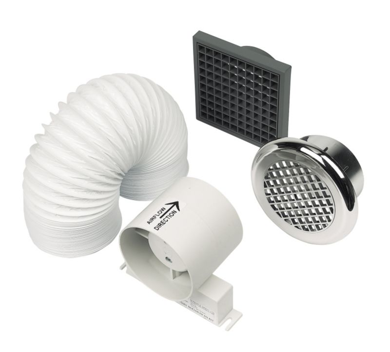 Manrose In-Line Chrome 20W Shower Extractor Fan Kit