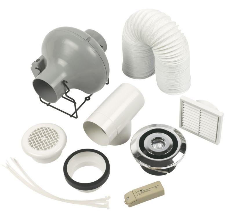 Manrose pro centrifugal chrome shower extractor fan kit for Bathroom extractor fan kit