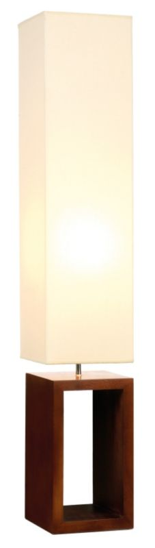 BandQ Cargo Dark Wood Floor Lamp Cream/Brown