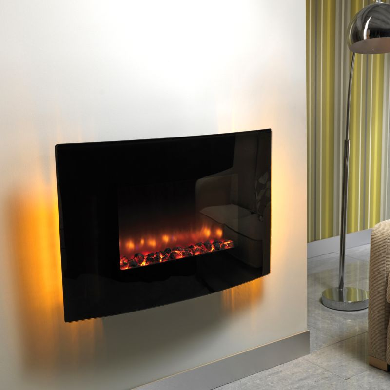 Scorpio Black Glass Frame Wall Hung Electric Fire