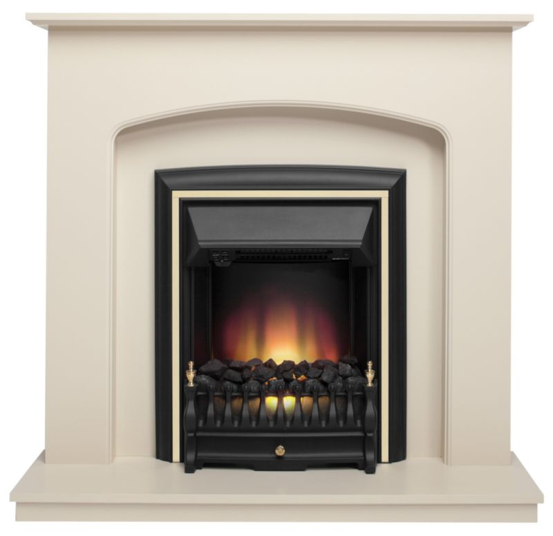 Edison Ivory Stone Finish Electric Fireplace Suite