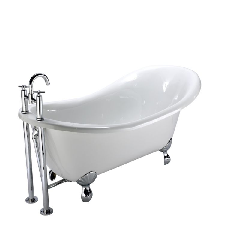 Freestanding Acrylic Slipper Bath White (L)1660 x (W)715mm
