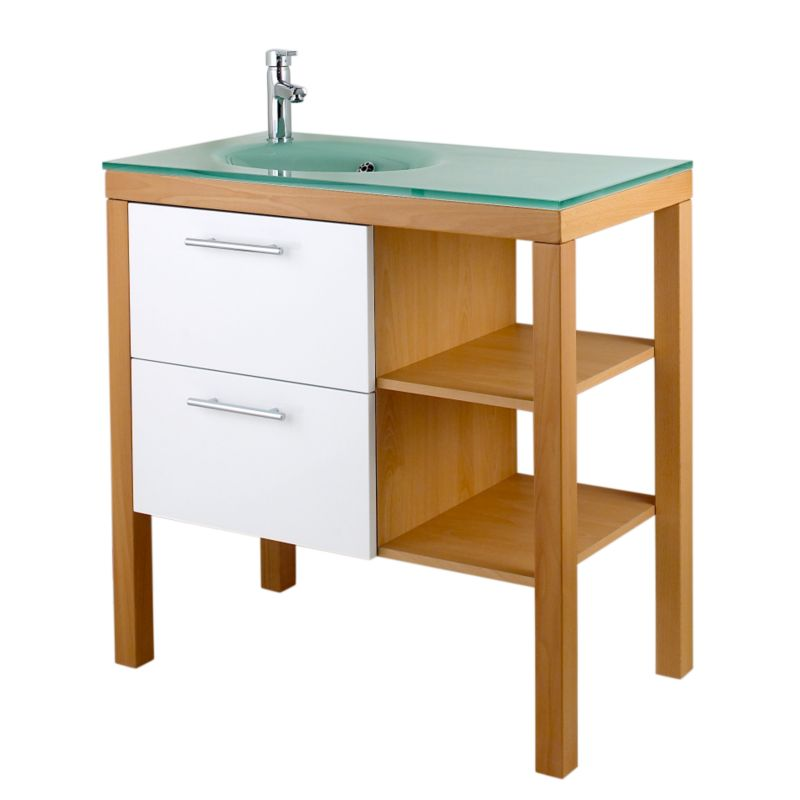 Largo Vanity Unit With Glass Basin Beech Effect (H)890 x (W)900 x (L)470mm