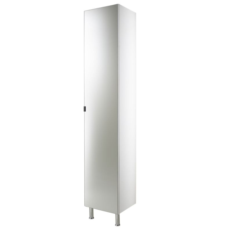 bandq concept 38 tall cabinet with mirror door white h 1900 x w 380