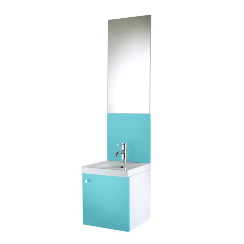 Concept 38 Vanity Unit and Cloakroom Basin White/Blue (H)430 x (W)380 x (L)370mm