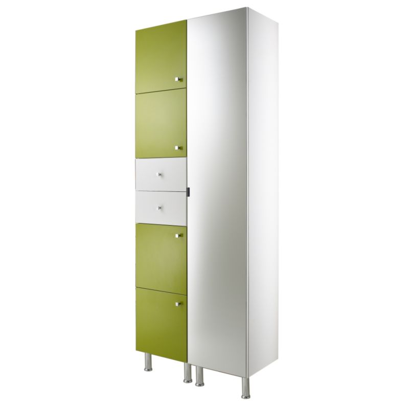 Concept 38 Tall Cabinet With Doors and Drawer White/Green (H)2030 x (W)380 x (L)340mm