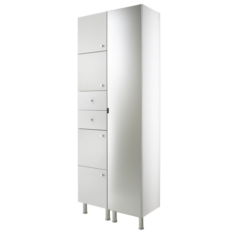 Concept 38 Tall Cabinet With Doors and Drawer White (H)2030 x (W)380 x (L)340mm