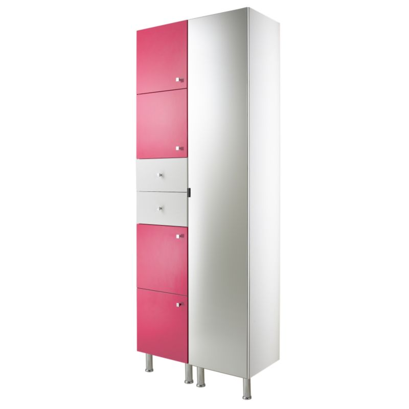 Concept 38 Tall Cabinet With Doors and Drawer White/Pink (H)2030 x (W)380 x (L)340mm