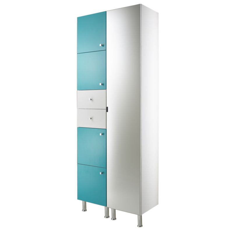 Concept 38 Tall Cabinet With Doors and Drawer White/Blue (H)2030 x (W)380 x (L)340mm
