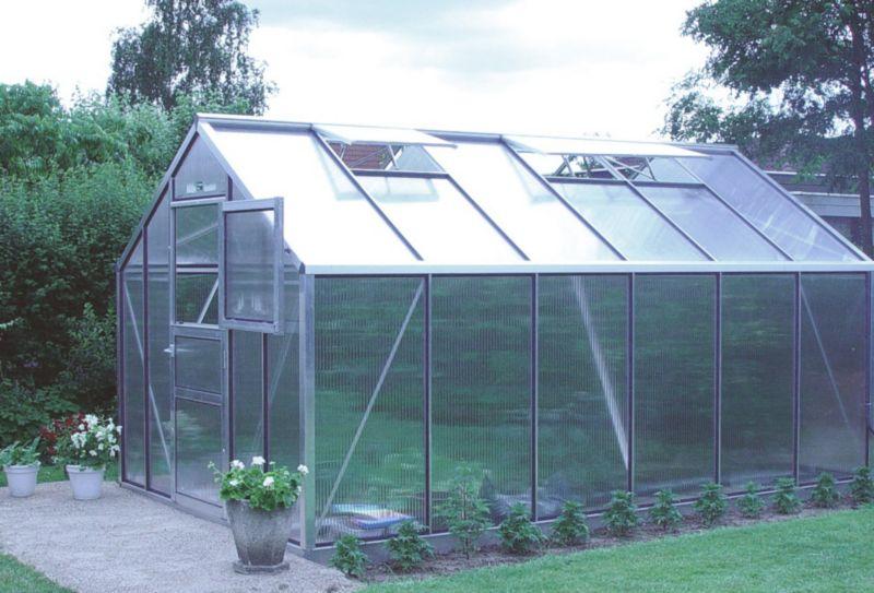 Model 9x14 - Premium Greenhouse - Aluminium Frame + Horticultural Glass + Base
